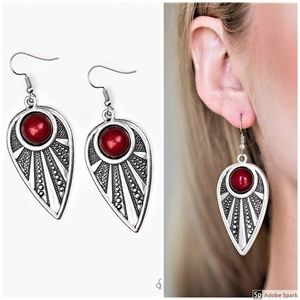 Take A WALKABOUT - Red & Silver Teardrop Earrings